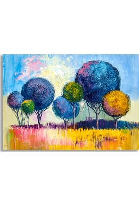 Diji Kanvas Renkli Ağaçlar Yağlı Boya Kanvas Tablo