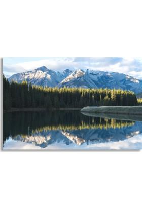 Diji Kanvas Karlı Dağlar Ve Göl Manzara Kanvas Tablo