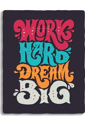 Diji Kanvas Work Hard Dream Big - Tipografi Kanvas Tablo