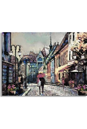Diji Kanvas Romantik Sokaklar Yağlı Boya Kanvas Tablo