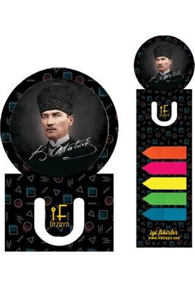 If Dizayn Atatürk İmza Renkli Yapışkanlı Pvc Kitap Ayracı