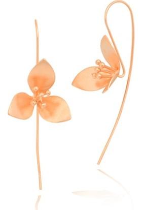 Gümüş Rüyası Sade Çiçekli, Tel Küpe, Roze Renkli. Gkpg4400037
