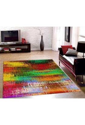 Veronya Kare Renkler Dijital Baskı Kaymaz Taban Halı 80x140
