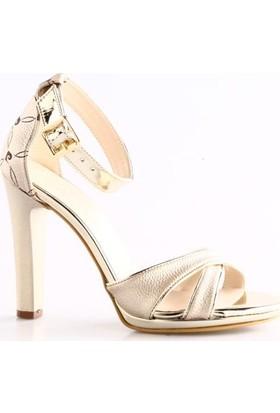 Pierre Cardin 91036 Kadın Bilekten Bağlı Sivri Topuklu Sandalet Altın