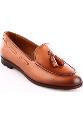 Dgn 7217 Kadın Püsküllü Oxford Ayakkabı Taba Analin