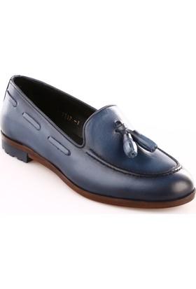 Dgn 7217 Kadın Püsküllü Oxford Ayakkabı Mavi Analin