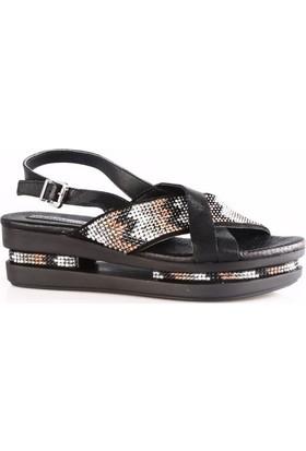 Mammamia 5070B Kadın Çerçeve Taban Taşlı Sandalet Siyah Saten