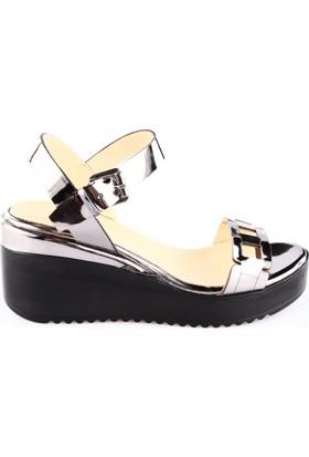 Poletto 1031-6148-1 Kadın Dolgu Taban Sandalet Nikel Ayna