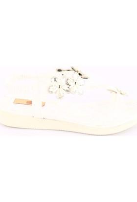 Dgn 593 Kadın Silikon Çiçekli Parmak Arası Sandalet Beyaz