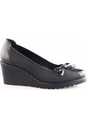 Dgn 6705 Kadın Dolgu Taban Kurdelalı Ayakkabı Siyah