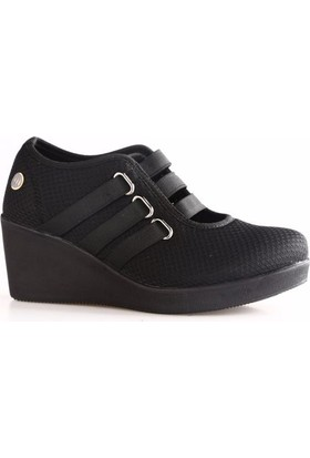 Mammamia 3855B Kadın Dolgu Taban 3 Lastik Bant Keten Ayakkabı Siyah Keten