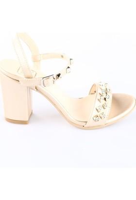 Dgn 6262 Bilekten Bağlı Taşlı Topuklu Sandalet Altın