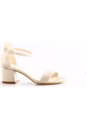 Pierre Cardin 91038 Kadın Bilekten Bağlı Kısa Topuklu Sandalet Altın