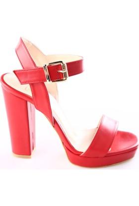 Dgn K28 Kadın Bilekten Bağlı Lita Topuklu Ayakkabı Kırmızı