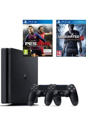 Sony PS4 Slim 500Gb Oyun Konsolu + 2. PS4 Kol + PS4 Pes 19 + PS4 Uncharted 4