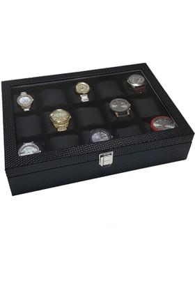 Chavin 15'li Diamond Siyah Deri Ahşap, Camlı Saat Kutusu st15-24