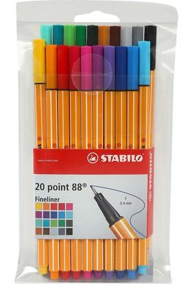 Stabilo Point Fineliner Kalem 88 20'li Paket