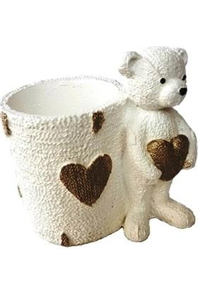 Merland Kalpli Ayıcıklı Beyaz Kalemlik