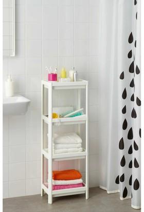 İkea Vesken 23X100 Cm Raf Banyo Duş Şampuan Lif Rafı Geçme Havlu Ünitesi Beyaz