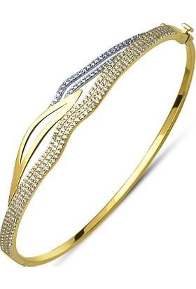 Allegrogold Ablz0015 Bilezik 8 Ayar Altın Zirkon Taşlı Kelepçe Bilezik