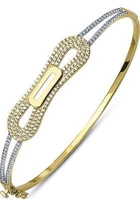 Allegrogold Ablz0024 Bilezik 14 Ayar Altın Zirkon Taşlı Kelepçe Bilezik