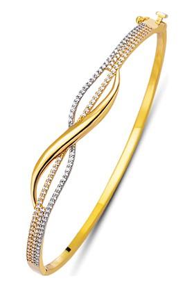 Allegrogold Ablz0036 Bilezik 14 Ayar Altın Zirkon Taşlı Kelepçe Bilezik