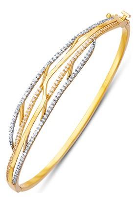 Allegrogold Ablz0041 Bilezik 8 Ayar Altın Zirkon Taşlı Kelepçe Bilezik