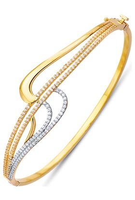 Allegrogold Ablz0043 Bilezik 14 Ayar Altın Zirkon Sırataşlı Kelepçe Bilezik