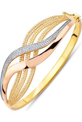 Allegrogold Ablz0044 Bilezik 14 Ayar Altın Zirkon Taşlı Üç Renk Kelepçe Bilezik