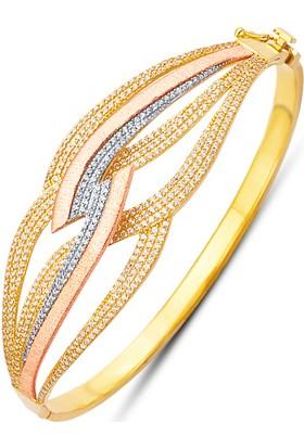 Allegrogold Ablz0046 Bilezik 8 Ayar Altın Zirkon Taşlı Üç Renk Kelepçe Bilezik