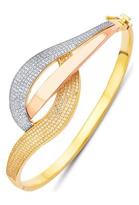 Allegrogold Ablz0048 Bilezik 14 Ayar Altın Zirkon Taşlı Üç Renk Kelepçe Bilezik