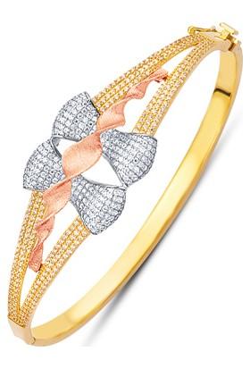 Allegrogold Ablz0055 Bilezik 8 Ayar Altın Zirkon Taşlı Fiyonk Kelepçe Bilezik