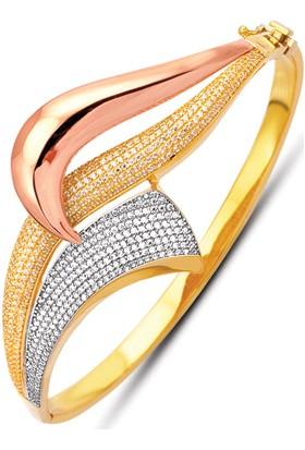 Allegrogold Ablz0058 Bilezik 14 Ayar Altın Zirkon Taşlı Üç Renk Kelepçe Bilezik