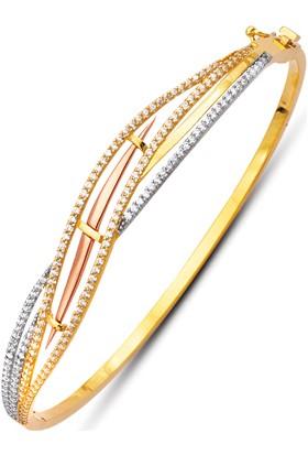 Allegrogold Ablz0067 Bilezik 14 Ayar Altın Zirkon Sırataşlı Kelepçe Bilezik