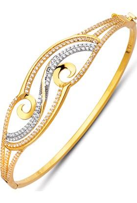 Allegrogold Ablz0068 Bilezik 14 Ayar Altın Zirkon Sırataşlı Kelepçe Bilezik