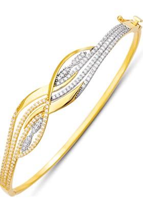 Allegrogold Ablz0071 Bilezik 14 Ayar Altın Zirkon Taşlı Kelepçe Bilezik