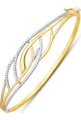 Allegrogold Ablz0072 Bilezik 14 Ayar Altın Zirkon Sırataşlı Kelepçe Bilezik