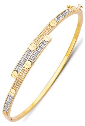 Allegrogold Ablz0084 Bilezik 8 Ayar Altın Zirkon Taşlı Kelepçe Bilezik