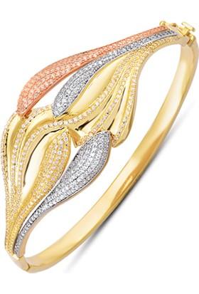 Allegrogold Ablz0099 Bilezik 14 Ayar Altın Zirkon Taşlı Üç Renk Kelepçe Bilezik