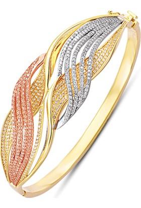 Allegrogold Ablz0100 Bilezik 14 Ayar Altın Zirkon Taşlı Üç Renk Kelepçe Bilezik