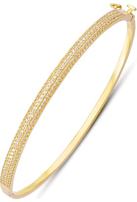 Allegrogold Ablz0103 Bilezik 8 Ayar Altın Zirkon Sırataşlı Kelepçe Bilezik