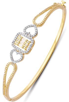 Allegrogold Ablz0108 Bilezik 14 Ayar Altın Baget Zirkon Taşlı Kelepçe Bilezik