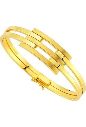 Allegrogold Ablz0115 Bilezik 14 Ayar Altın Taşsız Kaburga Kelepçe Bilezik