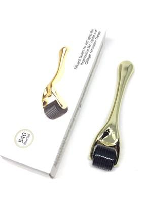 Derma Roller 540 iğneli 1 mm Masaj Aleti Cilt Yüz Bakım Seti Altın Rengi DermaRoller