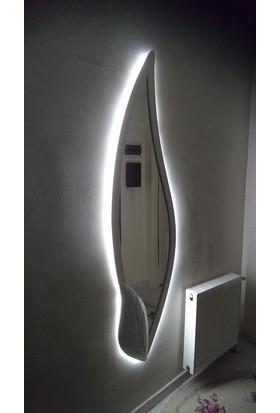 Marli̇n Yaprak Motifli Beyaz Led Aydınlatmalı Dekoratif Boy Aynası 188 X 51 (Beyaz)