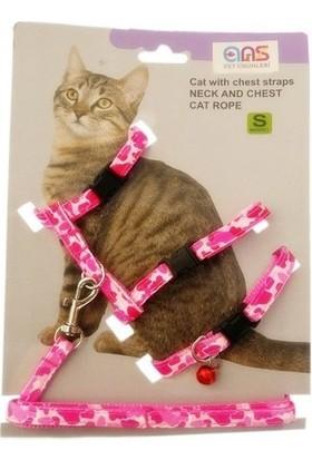 Ans Kamuflaj Desenli Kedi Göğüs Bel Tasması Pembe