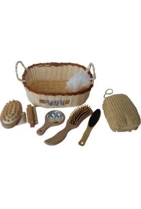 Banyo Hamam için Vucut Temizle Masaj Seti 8 Parça Bambu Doğal Ürünler