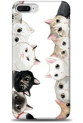Dynamics iPhone 8 Plus Üzgün Kediler Desenli Arka Esnek Kapak Kılıf