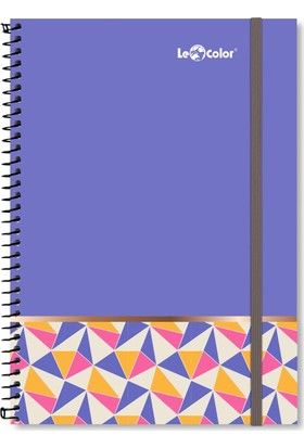 Le Color Pattern A4 Düz Sayfalı Defter Mor