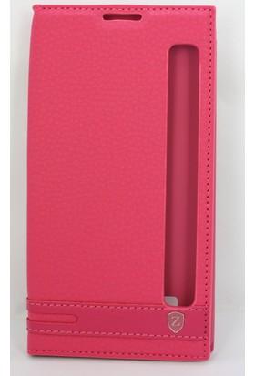 Case 4U LG Stylus 2 Pencereli Gizli Mıknatıslı Kapaklı Kılıf Pembe